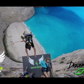 Dream Jump (rope jump) and BASE Jump in Greece Zakynthos Navagio Beach